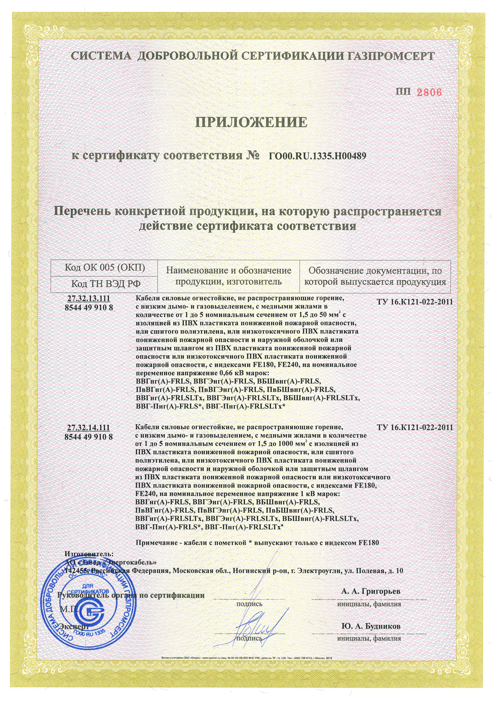 The appendix to the Certificate of Conformity № ГО00.RU.1335.Н00489.