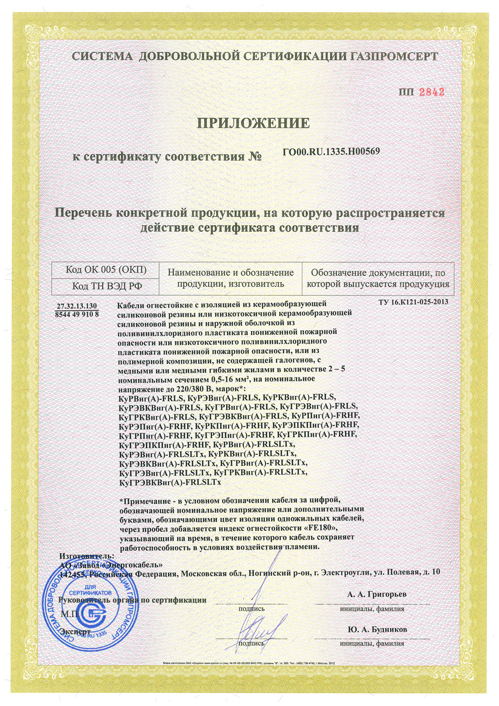 Certificate of Conformity No. ГО00.RU.1335.Н00569.