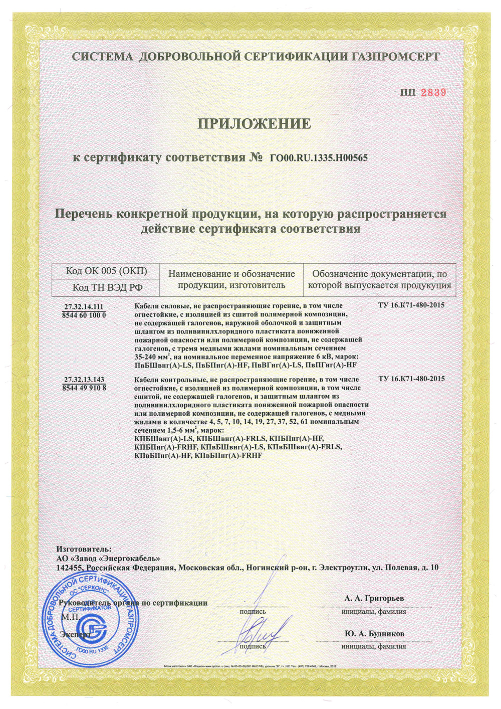 The appendix №2 to the certificate of Conformity № ГО00.RU.1335.Н00565.