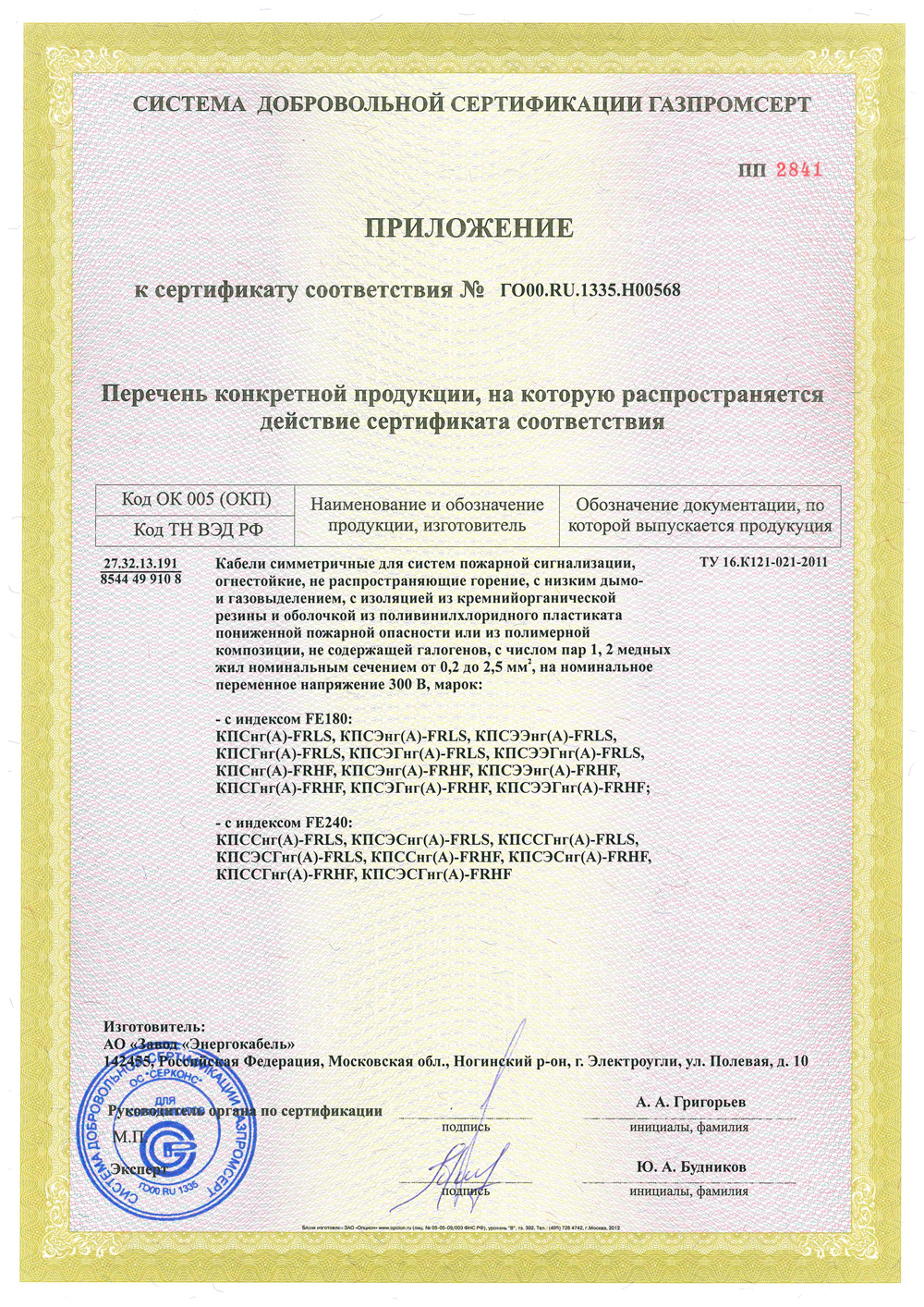 The appendix to the certificate of Conformity № ГО00.RU.1335.Н00568.